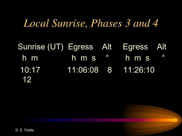 Local Sunrise, Phases 3 and 4