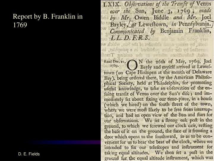 Report by B. Franklin in 1769