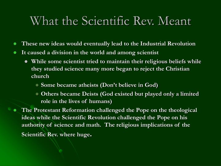What the Scientific Rev. Meant