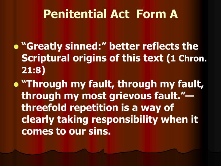 Penitential Act  Form A