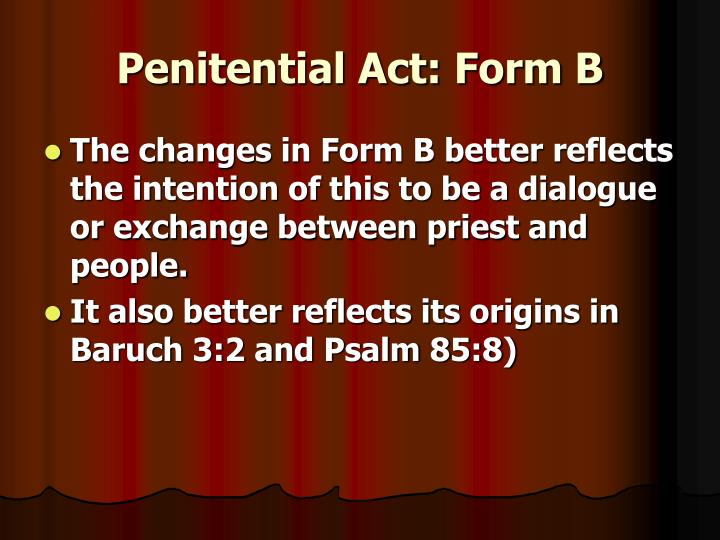 Penitential Act: Form B