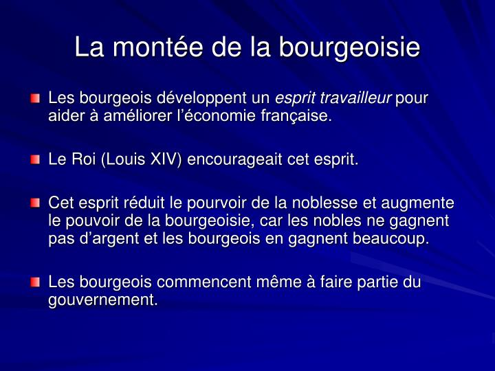 La montée de la bourgeoisie