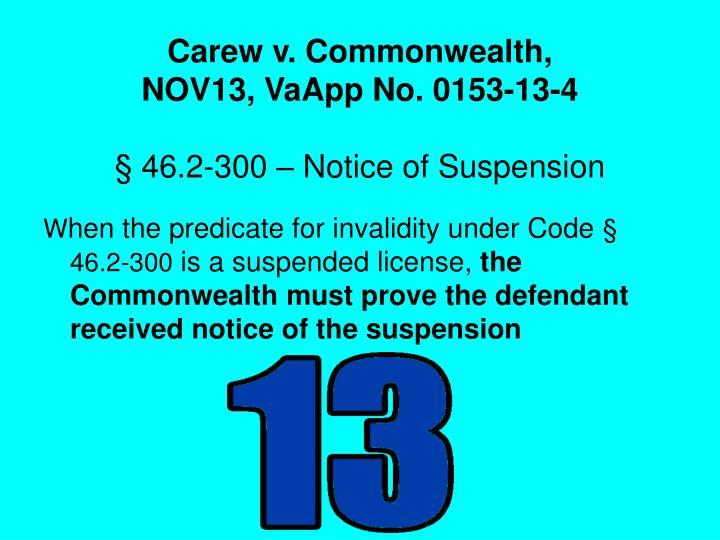 Carew v. Commonwealth,