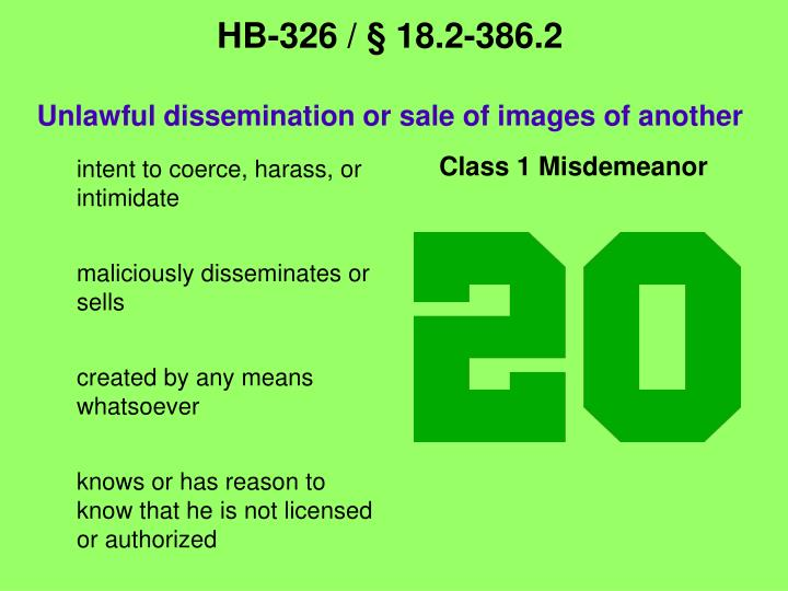 Hb 326 18 2 386 2 unlawful dissemination or sale of images of another