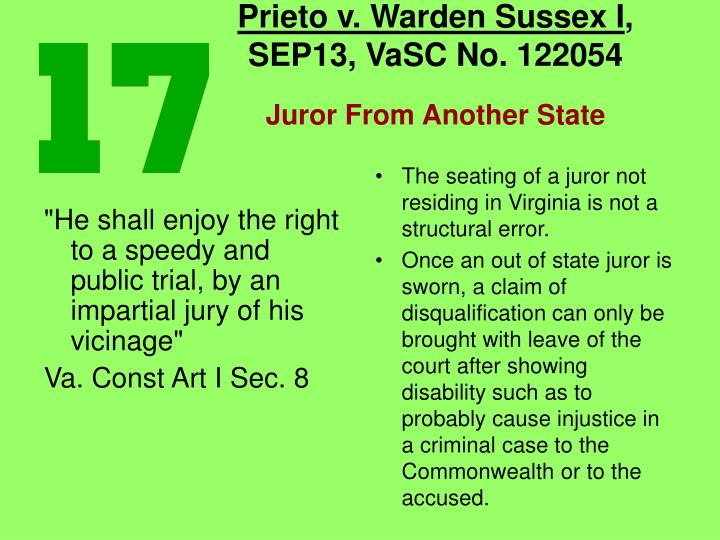 The seating of a juror not residing in Virginia is not a structural error.