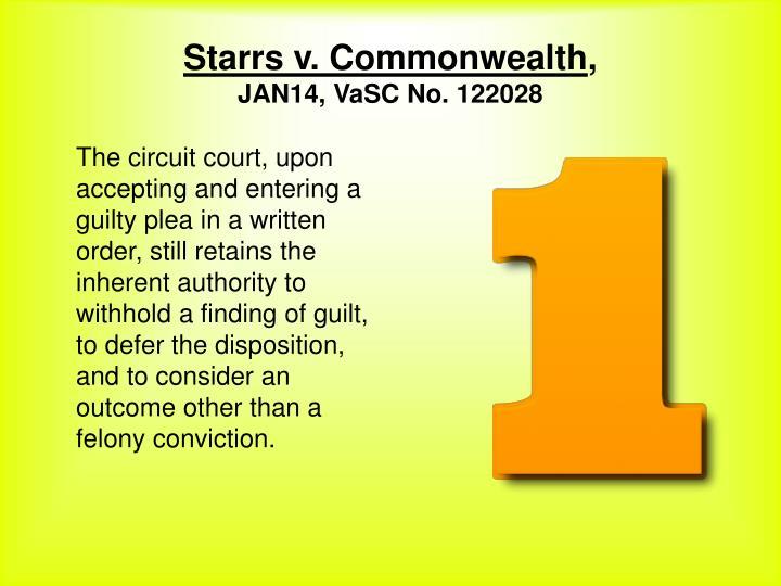 Starrs v. Commonwealth