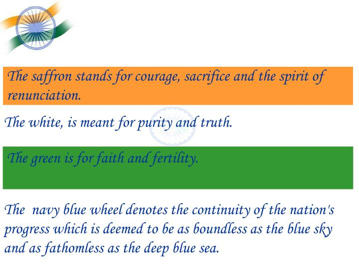 The saffron stands for courage, sacrifice and the spirit of renunciation.