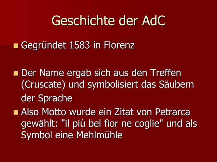 Geschichte der AdC