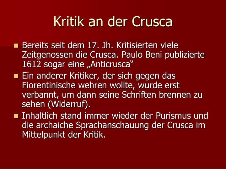 Kritik an der Crusca