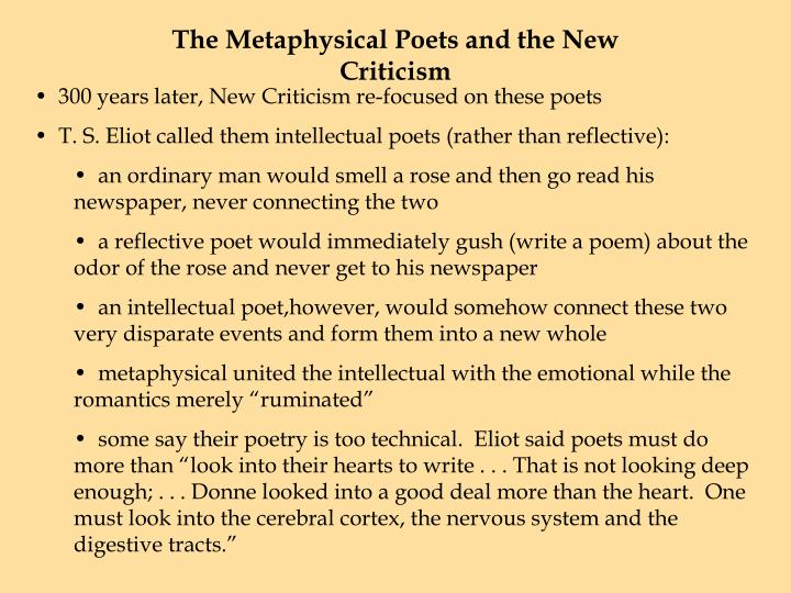 The Metaphysical Poets and the New Criticism