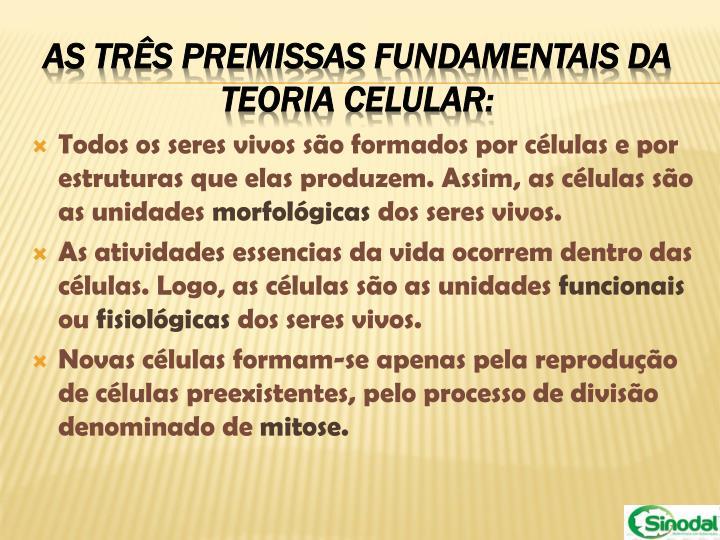 Todos os seres vivos são formados por células e por estruturas que elas produzem. Assim, as células são as unidades
