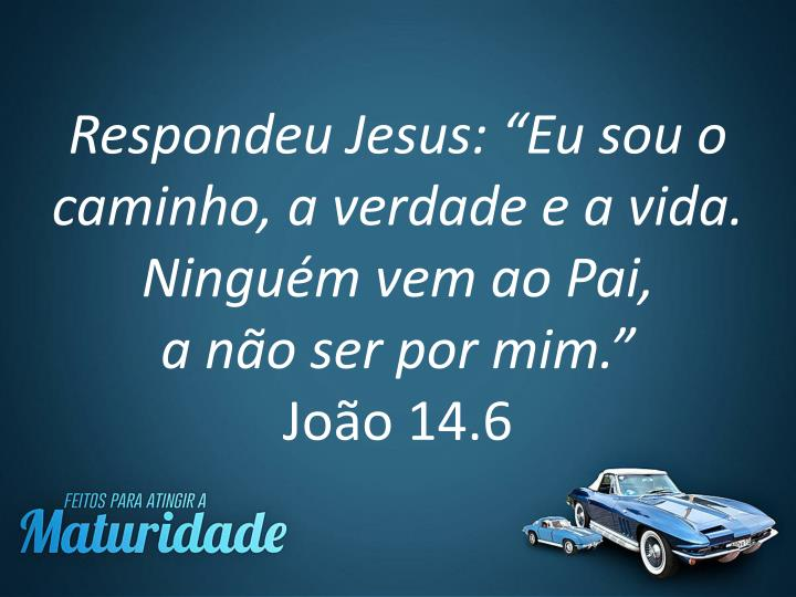 """Respondeu Jesus: """"Eu sou o caminho, a verdade e a vida. Ninguém vem ao Pai,"""