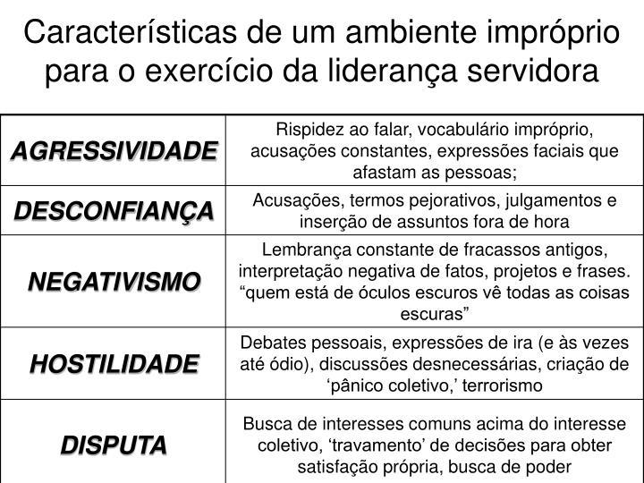 Características de um ambiente impróprio para o exercício da liderança servidora