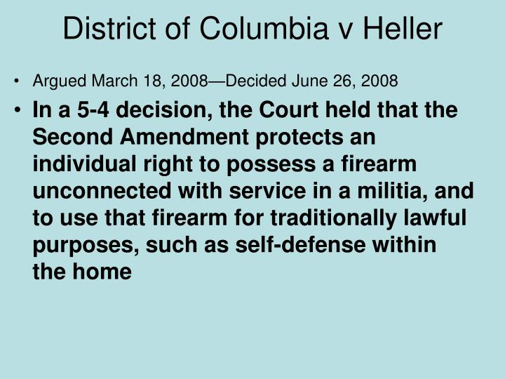 District of Columbia v Heller