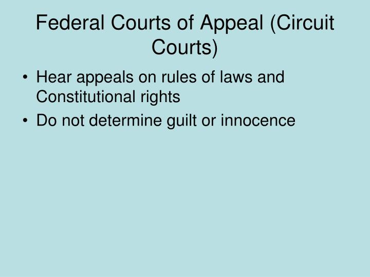 Federal Courts of Appeal (Circuit Courts)