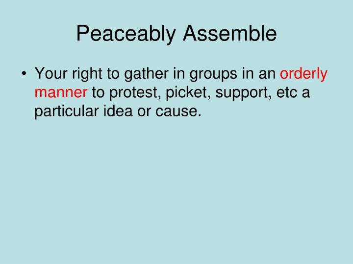 Peaceably Assemble