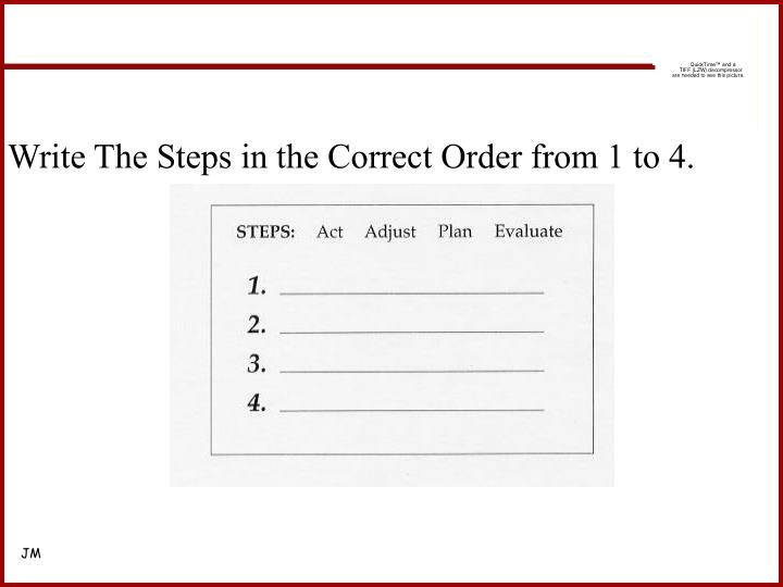Write The Steps in the Correct Order from 1 to 4.
