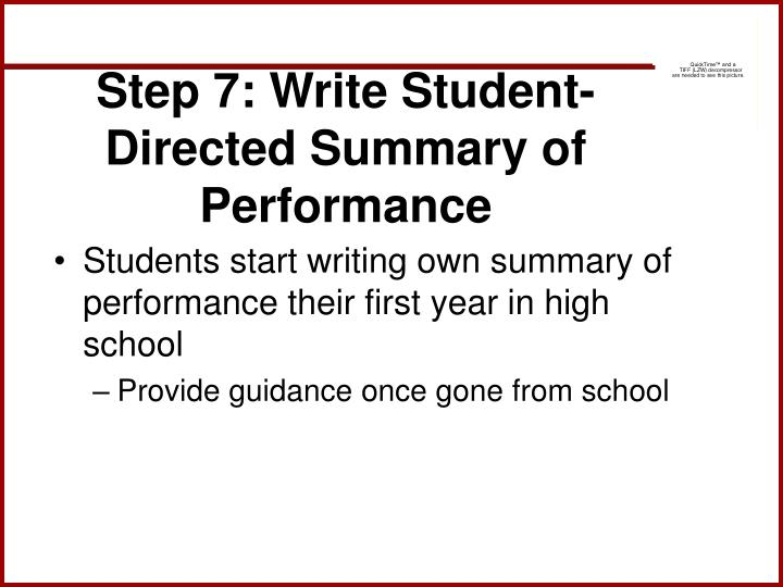 Step 7: Write Student-Directed Summary of Performance