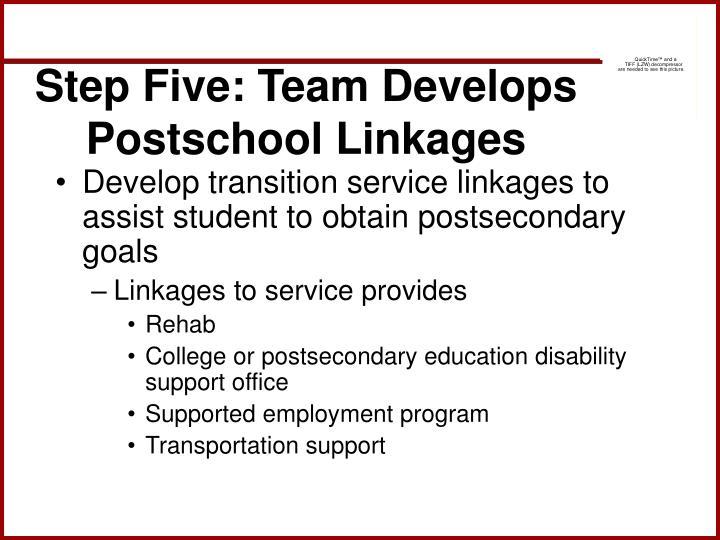 Step Five: Team Develops Postschool Linkages
