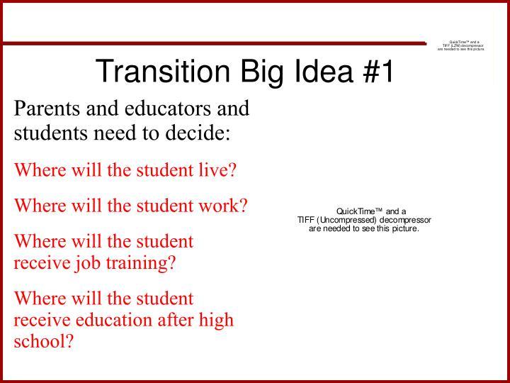 Transition Big Idea #1
