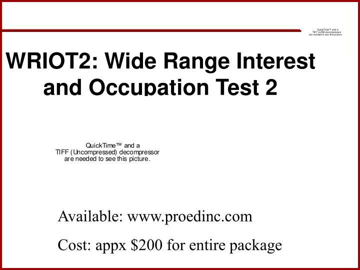 WRIOT2: Wide Range Interest and Occupation Test 2