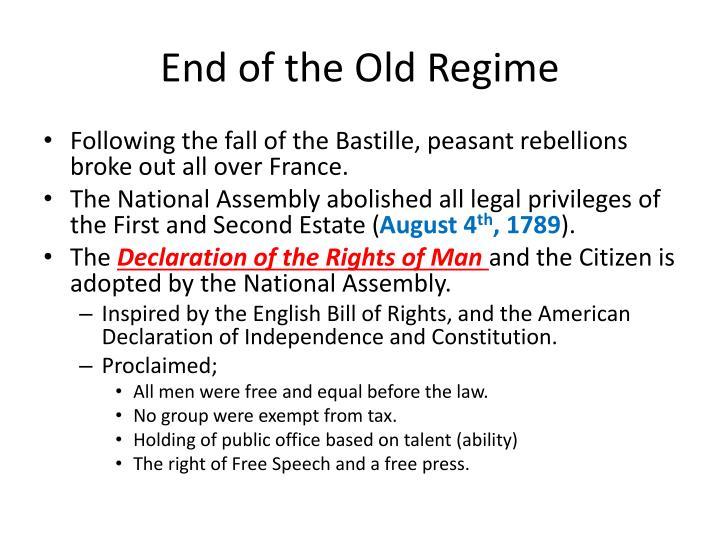 End of the Old Regime