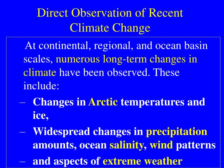 Direct Observation of Recent Climate Change