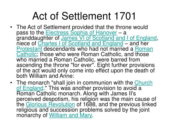 Act of Settlement 1701