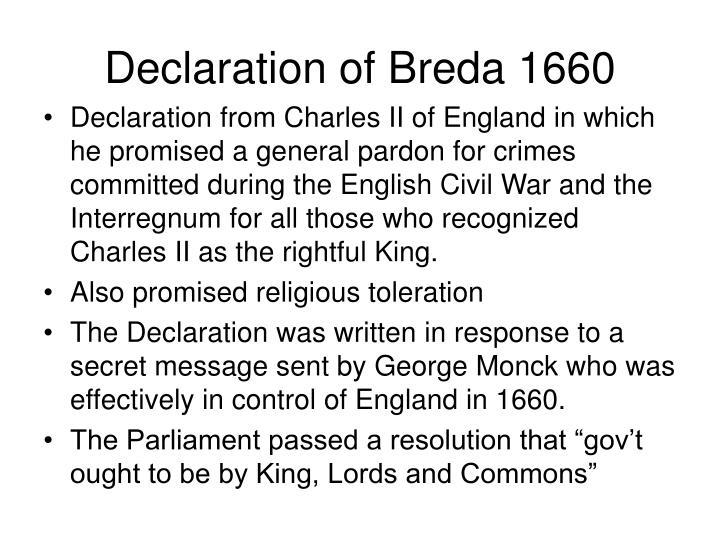 Declaration of Breda 1660