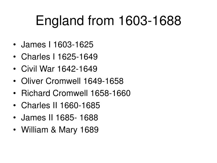 England from 1603-1688