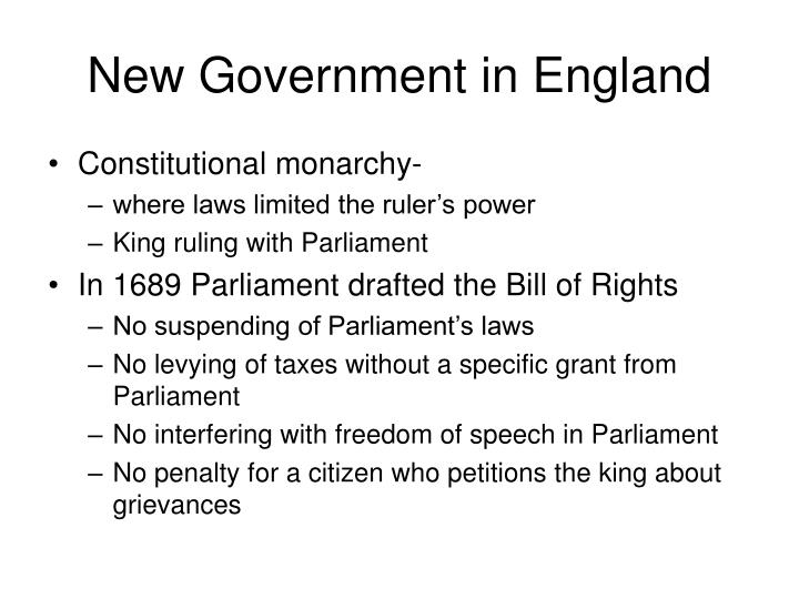 New Government in England