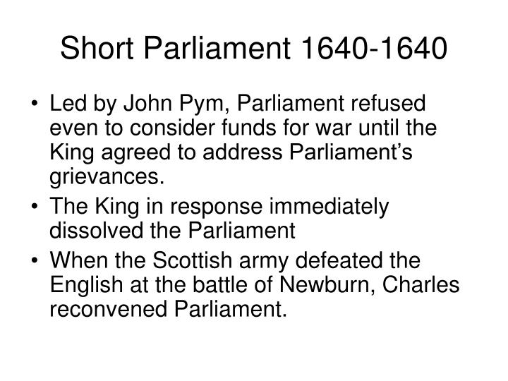 Short Parliament 1640-1640