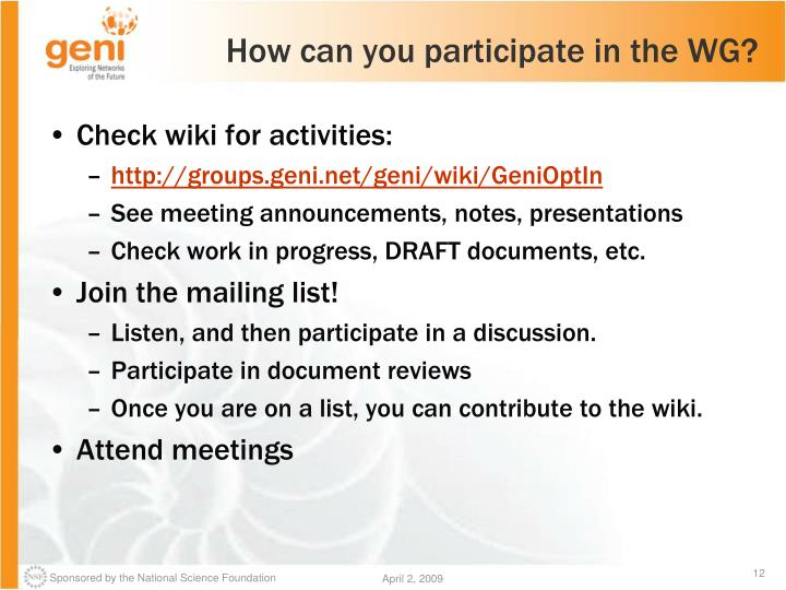How can you participate in the WG?