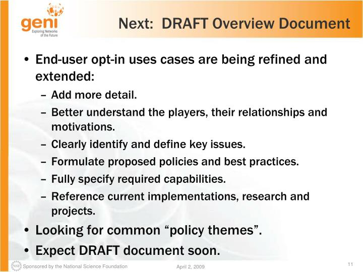Next:  DRAFT Overview Document
