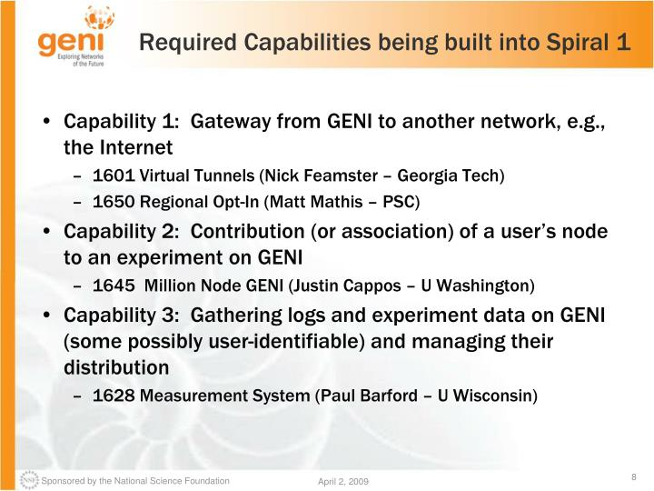 Required Capabilities being built into Spiral 1