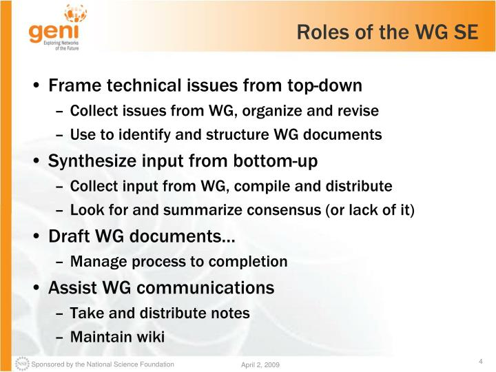 Roles of the WG SE