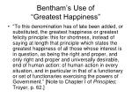 bentham s use of greatest happiness