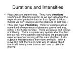 durations and intensities