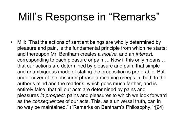 "Mill's Response in ""Remarks"""