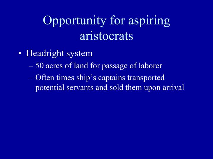 Opportunity for aspiring aristocrats