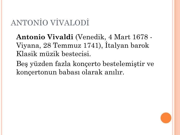 ANTONİO VİVALODİ