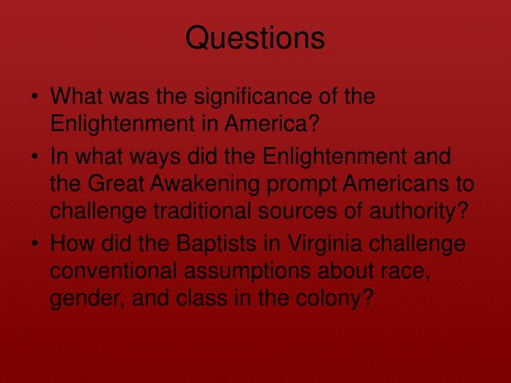 What was the significance of the Enlightenment in America?