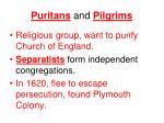 puritans and pilgrims