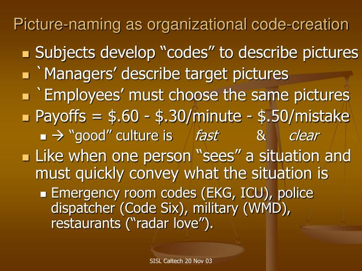 Picture-naming as organizational code-creation