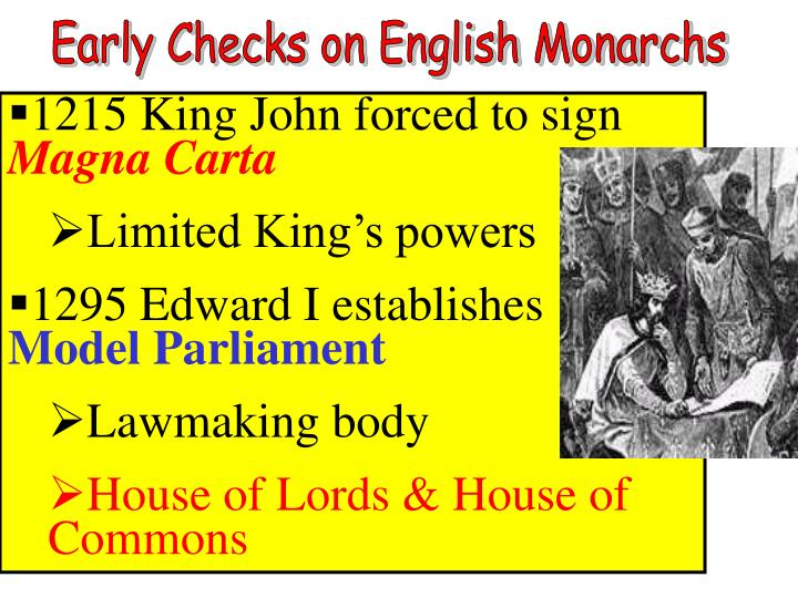 Early Checks on English Monarchs