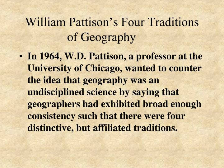 William Pattison's Four Traditions of Geography