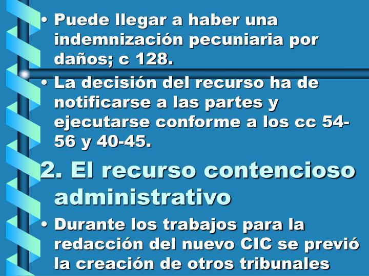 Puede llegar a haber una indemnización pecuniaria por daños; c 128.