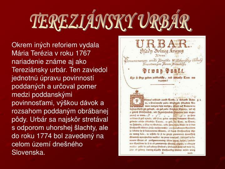 TEREZIÁNSKY URBÁR