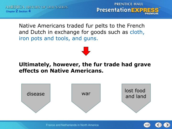 Native Americans traded fur pelts to the French and Dutch in exchange for goods such as
