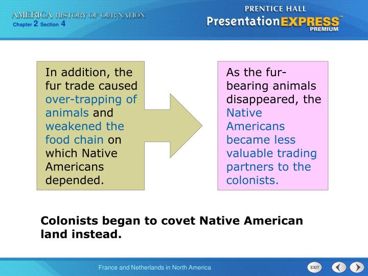 In addition, the fur trade caused